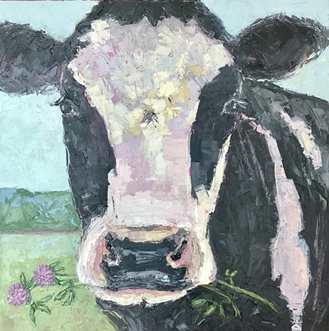 Holstein cow art, original oil painting, palette knife painting