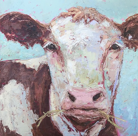 #cowpainting #secretlifeofcows #oilandcoldwax #paintswithaknife