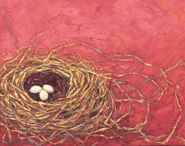 Birds nest art, red