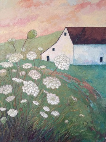White Barn Painting with Queen Anne's Lace, Thick Paint, Oil & Cold Wax Painting, Kim Rhoney Knife Painting