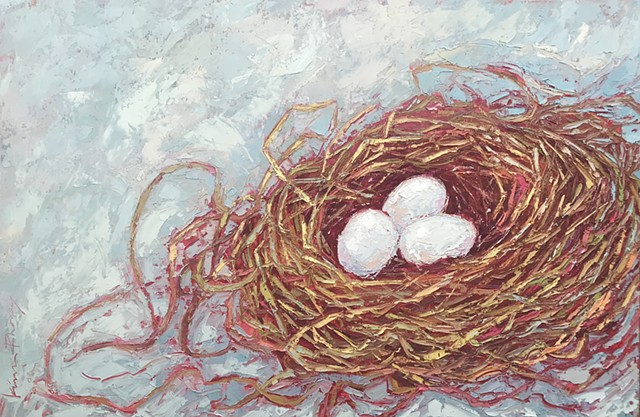 Original painting bird nest art oil & cold wax