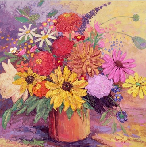 Mixed flower bouquet on yellow and purple