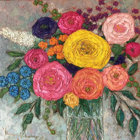 Floral Bouquet, open rose still life, oil & cold wax painting, knife painting