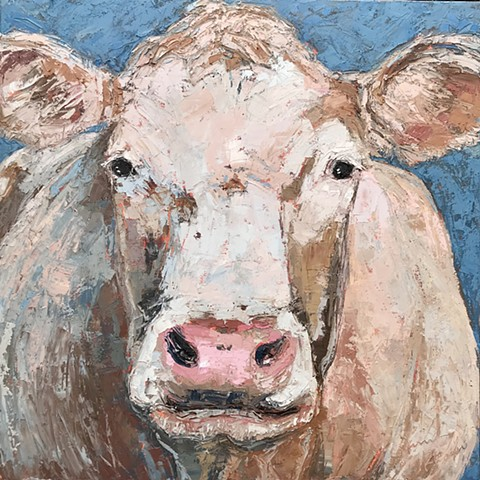 French White Cow Painting, large cow painting, oil painting, palette knife painting, cow art