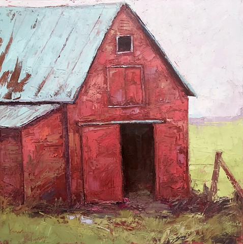 Red Barn oil painting, barn art, palette knife painting, kim rhoney painting