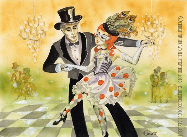 Enchanted masquerade, labyrinth ball, vintage art deco look and feel, harlequin and tuxedo costumes.