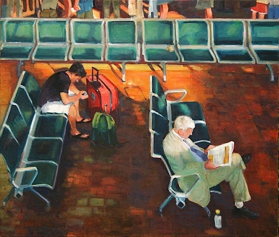 shelley lowenstein artist oil gesture figurative painting narrative two men waiting at Union Station washington, dc young old commuter traveler