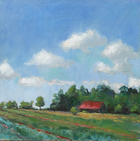 plein air oil painting Butlers Orchard Maryland field landscape by shelley lowenstein