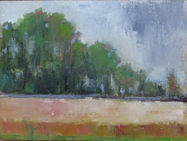plein air field grey day france landscape shelley lowenstein