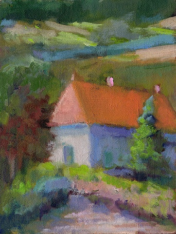 shelley lowenstein plein air oil painting landscape Burgundy France Beaune Santenay village