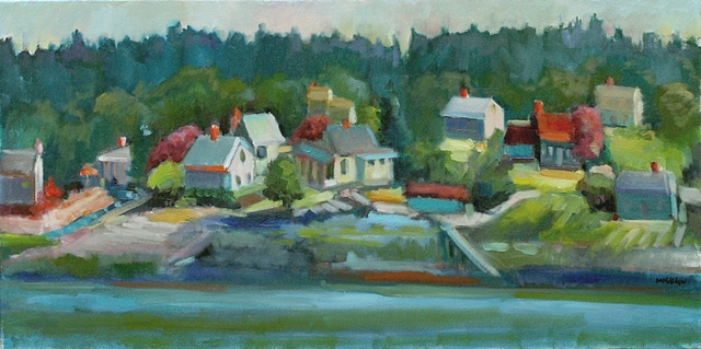 plein air oil painting landscape  maine rockport tenant's harbor ocean town by shelley lowenstein