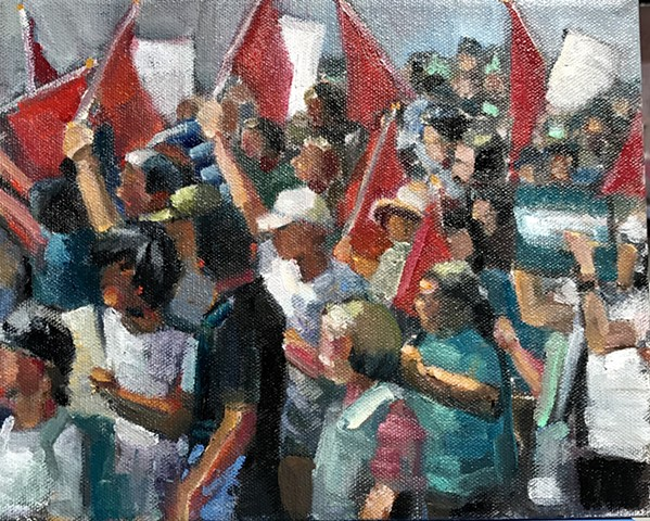shelley lowenstein abstracted realism oil gesture figurative painting washington dc DACA protest