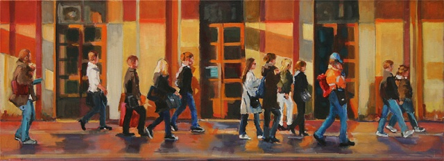 shelley lowenstein abstracted realism oil gesture figurative painting italy train station people walking to train