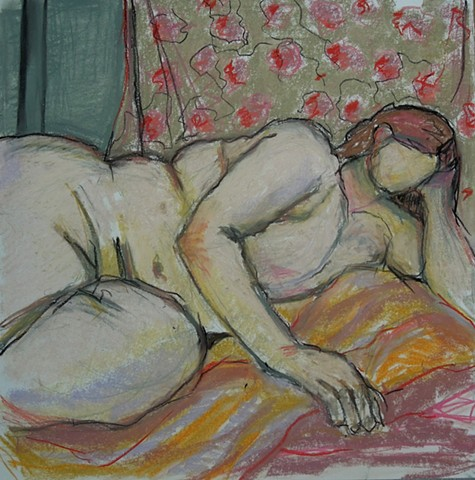 shelley lowenstein oil gesture figurative painting nude reclining