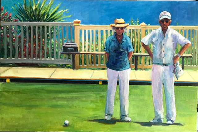 shelley lowenstein oil gesture figurative painting lawn golf