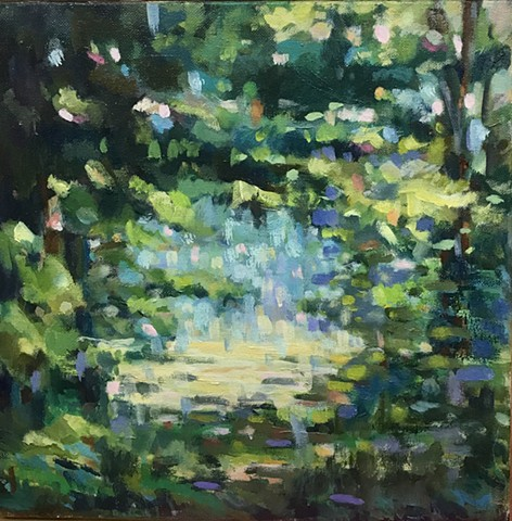 shelley lowenstein plein air oil painting Butlers Orchard Maryland field landscape forest to meadow