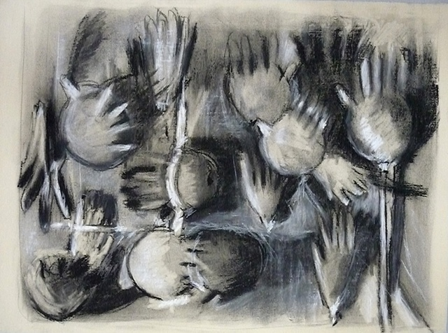 shelley lowenstein abstract realism works on paper latex surgical gloves mixed media
