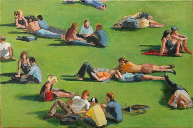 shelley lowenstein abstract realism oil gesture figurative painting lawn people on grass narrative sunny day