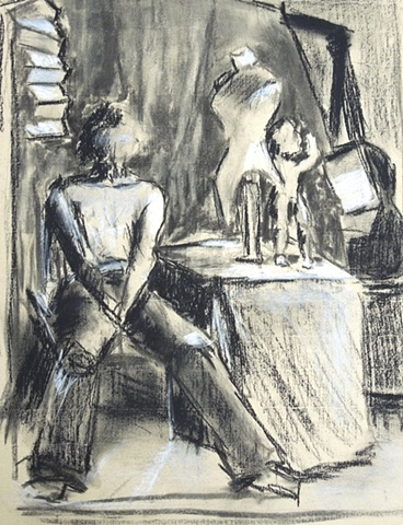 lowenstein drawing boy in room charcoal