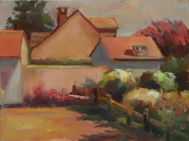 shelley lowenstein plein air landscape house palette painting france burgundy summer