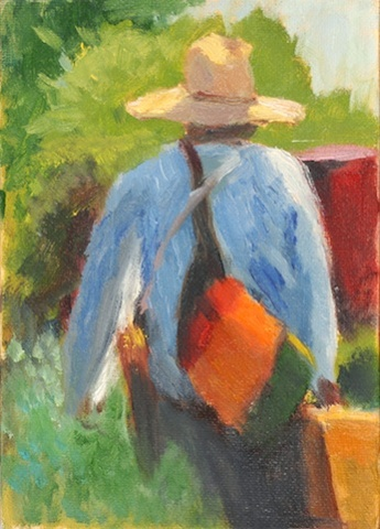 shelley lowenstein artist with messenger bag oil painting gesture study walking in garden