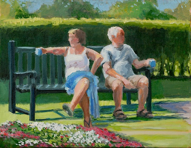 shelley lowenstein artist oil gesture figurative painting man and woman having tea on park bench narrative