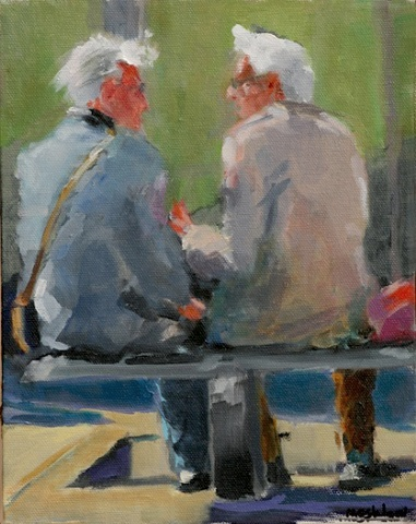 gesture painting figurative two men oil painting shelley lowenstein