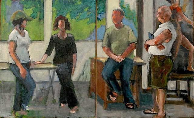 shelley lowenstein abstracted realism oil gesture figurative painting four artists in studio narrative