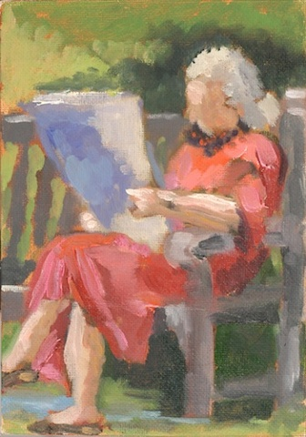 gesture study oil small elderly woman reading a newspaper on a park bench national cathedral shelley lowenstein