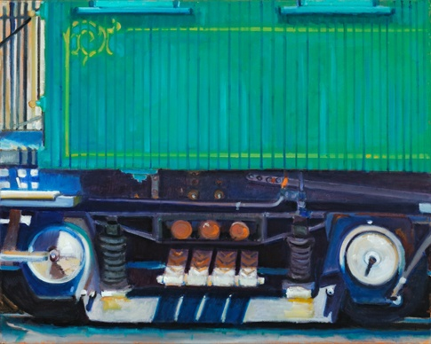 lowenstein oil painting close up of vintage train from new zealand wood and wheels