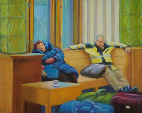 figurative narrative people sleeping train station shelley lowenstein