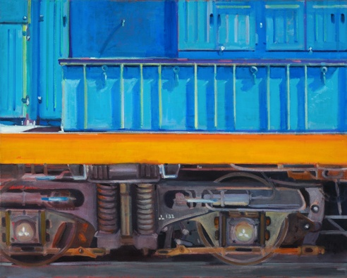 lowenstein oil painting close up of freight train dunedin new zealand box and wheels