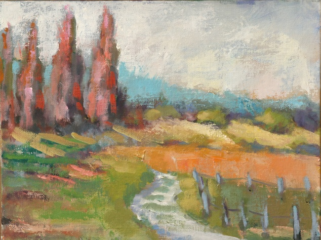 plein air oil painting landscape burgundy france Beaune Santenay fields by shelley lowenstein