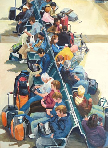 railroad station waiting room, figures, narrative, shelley lowenstein, crowd of people