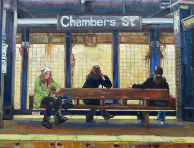 lowenstein subway new york narrative paintings figurative  figures