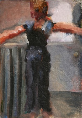 oil gesture figurative painting woman doing yoga shelley lowenstein