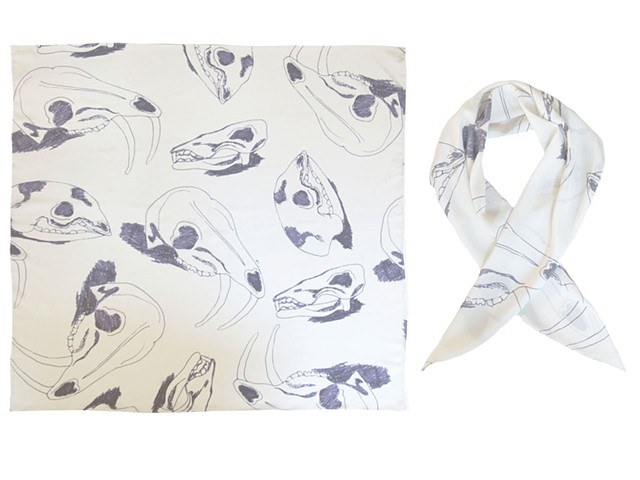 Silk crepe de chine, scarf, grandiflora, aaron edwards, digitally printed