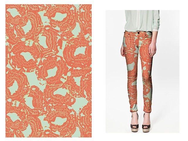 Mushroom Pattern & Texture Mapped Pants/Fashion