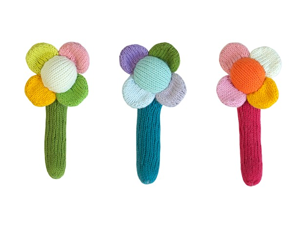 Knitted Flower Rattles