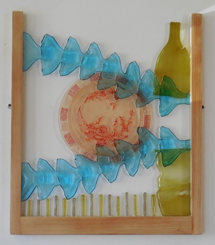 bottle glass, pink platter, red frit, recycled wood