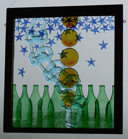 recycled bottle glass in old window