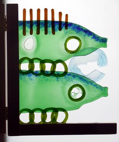 bottle glass, blue frit, a gate