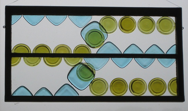 Bottle glass in old sash