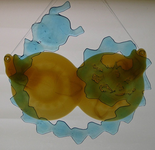 plates, cups, and recycled bottle glass.