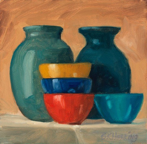 Small Bowls and Blue Vases