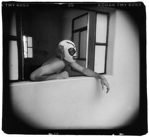 Holga photograph of a man in a Mexican wrestler mask