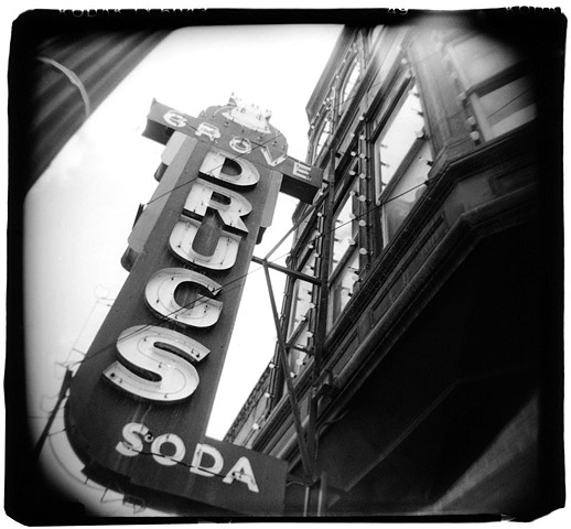 Holga photo of Grove Drugs sign in Austin, Texas