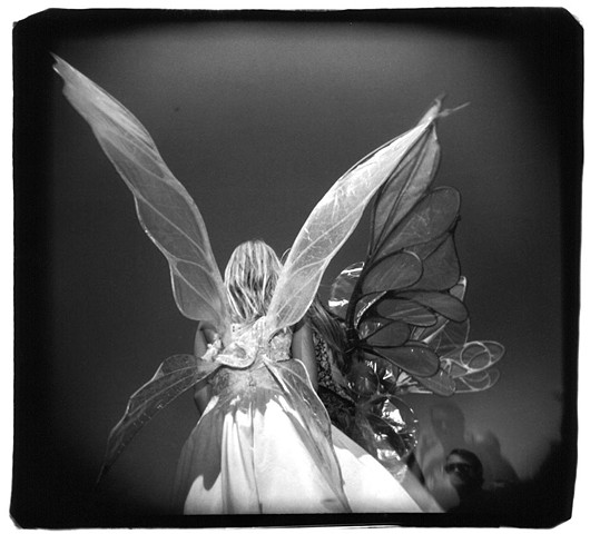 Holga photo of girls with butterfly wings