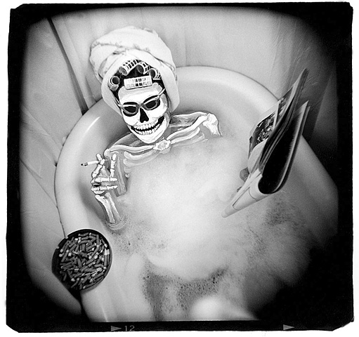 manipulated Holga photo day of the dead theme