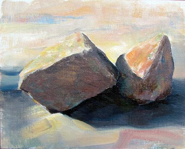 Study of two rocks getting friendly